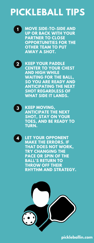 This is an infographic that shares important pickleball tips.