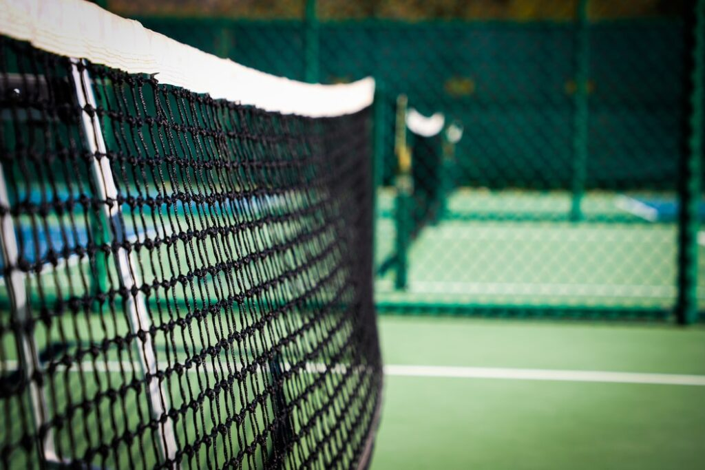 This image is a close-up of a pickleball net.
