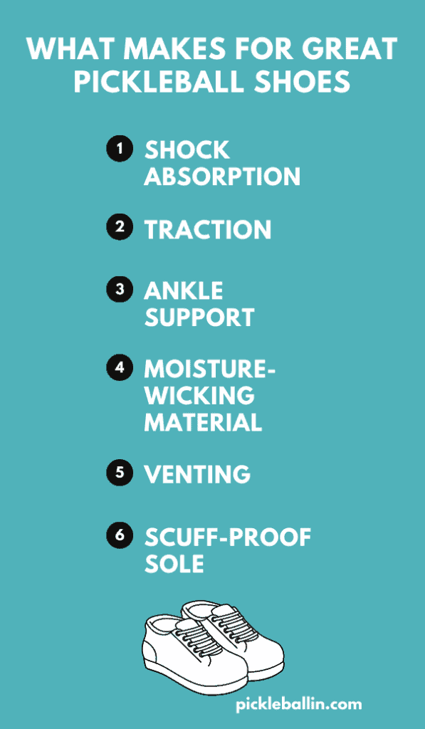The Best Pickleball Shoes for Men: What makes for great pickleball shoes infographic