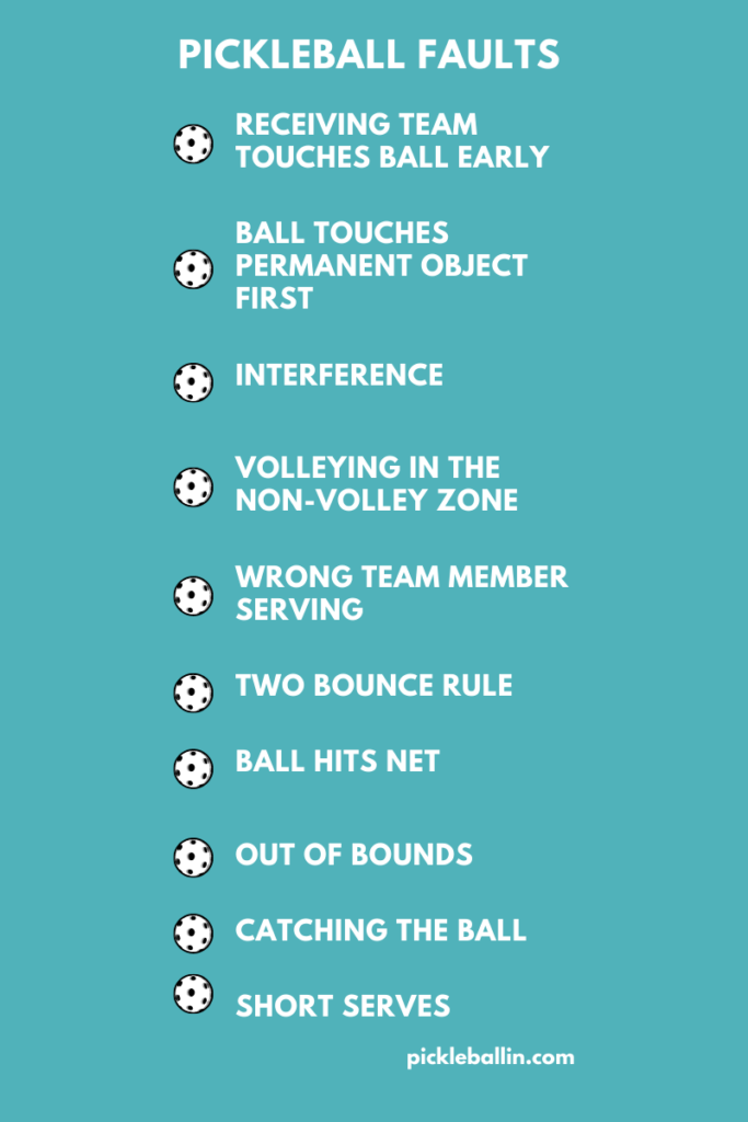 What is a Fault in Pickleball?: Pickleball Faults Infographic
