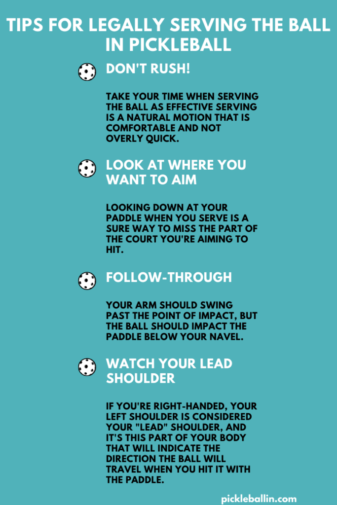 Pickleball Serving Rules: Tips for legally serving the ball in pickleball infographic